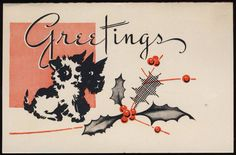 vintage Christmas card with terriers