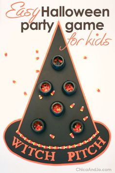 Easy DIY Halloween party game for kids! Toss candy corn into cauldrons on a giant witch's hat. Halloween Carnival Games, Halloween Party Supplies, Family Halloween Costumes, Diy Halloween Decorations, Halloween Treats, Halloween Diy, Fall Party Games, Fall Festival Games, Party Themes