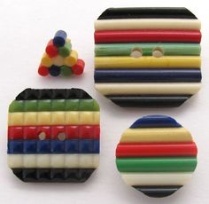 Vintage EXTRUDED ROD CELLULOID Buttons, Lot of 4, Circle, Triangle, Squares