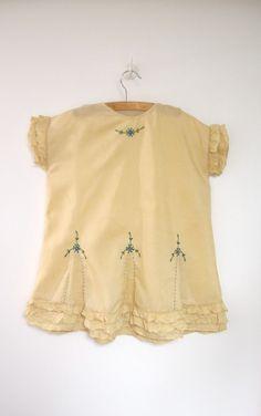 Antique, handmade Edwardian baby frock / dress, 1905.
