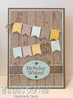 A card for my cousins birthday, using Stampin Up Hardwood & Banner Blast, idea cased from here.