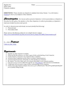 Use Pinterest to analyze a character ~ Student Guidelines and Rubric included.