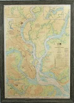 Purchase this Charleston Harbor Nautical Chart Framed Print featuring a Lowcountry Driftwood Frame Framed Wall Art, Framed Prints, Modern Coastal, Coastal Furniture, Furniture Styles, City Art, Online Furniture, Prints For Sale, My Room