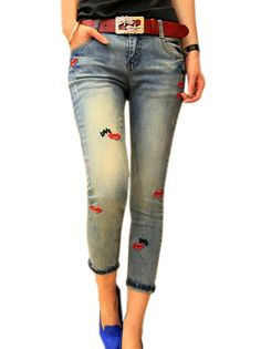 Embroidered Red Lips Letters Low Waist Capris Women's Skinny Jeans With Red Belt on buytrends.com
