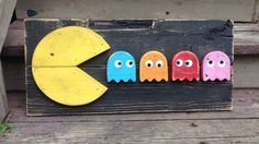 pac man video game wood sign wall art gaming signs arcade games man cave rustic decor pallet art pallet cut out Video Game Bedroom, Video Game Rooms, Wood Pallet Signs, Pallet Art, Arcade Game Room, Arcade Games, Pac Man, Arte Bar, Grand Art Mural