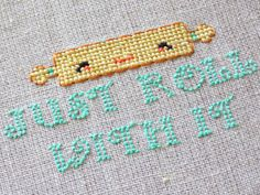 Kitchen Cross Stitch Pattern - Kawaii Rolling Pin Cross Stitch