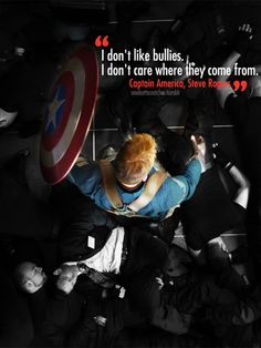 ''I don't like bullies. I don't care where they come from.'' / Steve Rogers : Captain America - Visit to grab an amazing super hero shirt now on s Marvel Quotes, Marvel Memes, Marvel Dc Comics, Marvel Avengers, Avengers Quotes, Captain America Quotes, Chris Evans Captain America, Marvel Captain America, Captain Quotes