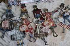 Paper Dolls created with Character Constructions Art Stamps and French General Papers by Jackie Peters of Paper Crown in OKC. LOVE!
