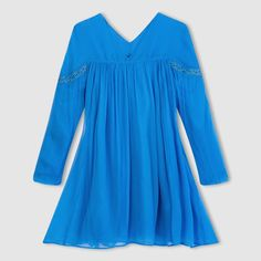 Long-Sleeved Voile Dress