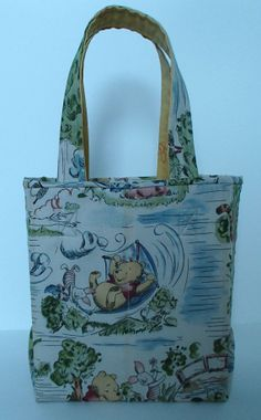 Winnie the Pooh and Friends Tote Bag or Fabric Gift Bag by crystalthreads.