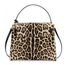My Rockstud Calf Hair Satchel Bag Leopard Print By Valentino