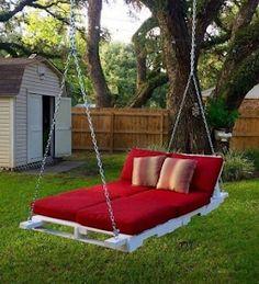 Outdoor Beds, Outdoor Pallet, Garden Pallet, Outdoor Hanging Bed, Hanging Beds, Pallet Patio, Hanging Chairs, Outdoor Decor, Diy Swing