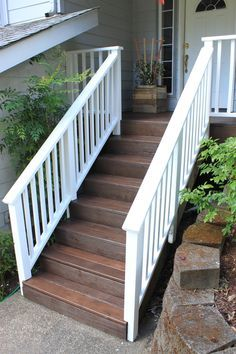 Behr Semi-Transparent Weather Proofing Wood Stain in Padre Brown for the deck with Behr Solid Weather Proofing Wood Stain in Ultra Pure White