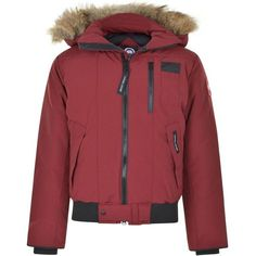 CANADA GOOSE Borden Bomber Jacket featuring polyvore, women's fashion, clothing, outerwear, jackets, flight jacket, padded bomber jacket, red jacket, insulated jackets and blouson jacket