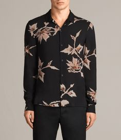 AllSaints New Arrivals: Tomales Shirt. The Tomales Shirt is printed with a large scale all over floral print taken from vintage Japanese kimono patterns. Hawaiian styling with an open collar. Boho Kimono, Kimono Fashion, Floral Kimono, Men's Fashion, Vintage Fashion, Fashion Outfits, Formal Shirts For Men, Kimono Pattern, Japanese Kimono