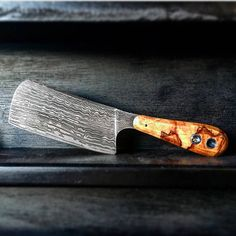 Custom handmade damascus cleaver hunting/kitchen knife with
