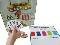 Fraction Line Up - Set Up and Play: All of the dominoes are placed face down in a pile. Players take turns choosing a fraction and placing it on their game board. Players are trying to have their board end up with all 5 fractions lined up from Least to Greatest.