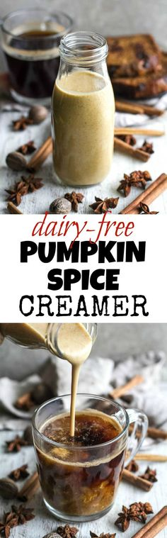This naturally sweetened, Dairy Free Pumpkin Spice Coffee Creamer is a healthy alternative to store-bought creamers! It's vegan, paleo-friendly, refined-sugar-free, and tastes AMAZING! | runningwithspoons.com