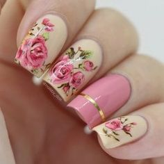 2 Sheets Pink Rose Flower Pattern Nail Art Water Decal Transfer Stickers Tips u Nail Art Stickers, Nail Decals, Nail Water Decals, Rose Nails, My Nails, Spring Nails, Summer Nails, Nail Tattoo, Luxury Nails