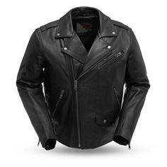 Mens Soft Heavy Naked Leather Biker Jacket Emboss Eagle on Back Side Laces