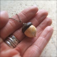 Glass Autumn Acorn Necklace in Vintage Antique by bullseyebeads
