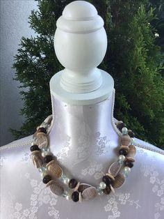 Kette kurz oder lang tragbar, Sea Shells und Süsswasserperlen, sFr. 28.-- Kugel, Beaded Necklace, Beige, Jewelry, Fashion, Neck Chain, Taupe, Jewellery Making, Moda