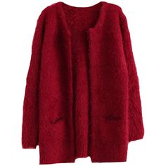 Blackfive Solid Tone Twin Pockets Md-long Mohair Cardigan (43 CAD) ❤ liked on Polyvore featuring tops, cardigans, outerwear, jackets, sweaters, coats, mohair cardigan, long red cardigan, long length tops and red top