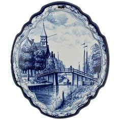 Antique Blue and White Dutch Delft Pottery Wall Plaque with Canal Scene For Sale at Blue And White China, Love Blue, Delft, Decoupage, Iron Decor, Royal Copenhagen, China Painting, Wall Plaques, Wood Art