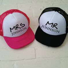 Personalised Mrs and Mr Trucker Cap Set. Custom Trucker Hat. Add Your  Surname. f75528eae23b