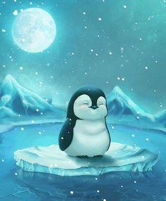 Пингвинчик плавает на льдине...