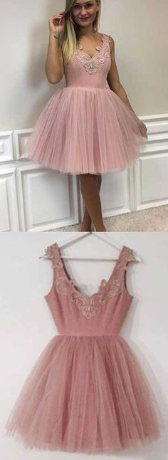 Blush Pink Homecoming Dress ,Dirty Pink Homecoming Dress,Tulle Homecoming Dress,Homecoming Dress with Lace,Short Homecoming Dress,Graduation Dress,Short Party Dress,V neck Homecoming Dress