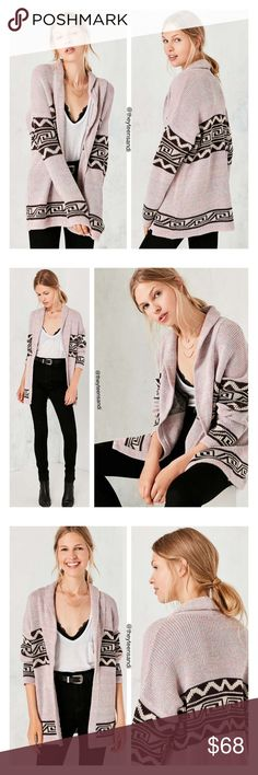 """Urban Outfitters Ecote Pink Shawl Cardigan Sweater Oversized shawl-neck cardigan sweater by Ecote in a bold but neutral pattern perfect for every day. In a cozy, medium-weight sweater knit in a long, loose fit. Detailed with an open front + shawl-neck with skinny fold-over lapels. Cotton, polyester. Hand wash. Measurements taken from size Medium. Chest: 45"""". Length: 28"""". Urban Outfitters Sweaters Cardigans"""