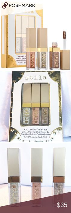 ✨Stila Written in the Stars ✨Liquid Shadow Set✨ NWT Stila LE Written in the Stars 3 pc metallic liquid eyeshadow set includes Diamond Dust, Kitten Karma, and Smoky Storm. Check out my other listings to bundle and save! Stila Makeup Eyeshadow