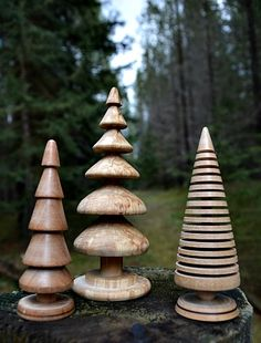 Three different Christmas trees.  Make them small or large!  Express your woodturning creativity and make your own unique Christmas ornaments.