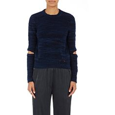 Raquel Allegra Women's Slub-Knit Sweater ($395) ❤ liked on Polyvore featuring tops, sweaters, navy, blue sweater, navy blue top, navy blue sweater, crew neck sweaters and distressed sweater