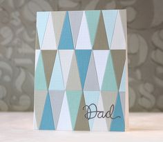 SSS~Full Card Hourglass die Awesomeness from Laura Bassen! Card Making Inspiration, Making Ideas, Patchwork Cards, Rainbow Card, Scrapbooking, Paper Smooches, Some Cards, Fathers Day Cards, Masculine Cards