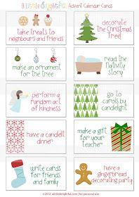 a little delightful: {printable} Advent Calendar Activity Cards. Beautiful cards & activity ideas. Print on card stock & laminate to last!