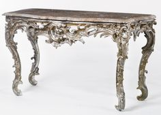 date unspecified A South German Rococo carved and silvered console table probably Franconia, mid-18th century  Estimate  20,000 — 30,000  USD. unsold