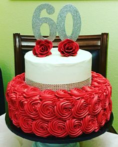 60th Birthday Cake, buttercream, red and silver, rosettes