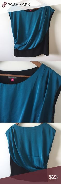 """Vince Camuto teal and black top Jewel tone teal and black top w/side zip. Drapes beautifully. Like new condition. Machine washable, gentle cycle. 24"""" shoulder to hem. Size Medium. Vince Camuto Tops"""