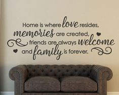 Welcome Wall Decal / Welcome Home  Welcome to our Home   Add this beautiful family wall decal to your living room, foyer, or kitchen today! Get the homey feel from this piece. Welcome all of your guests to your beautiful home! This gorgeous welcome decal applies smoothly, leaving a hand-painted look. It comes in a variety of gorgeous colors to match any decor. Not what youre looking for? Other home quotes can be found here https://www.etsy.com/shop/FourPeasinaPodVinyl?section_id=12864986  Or…