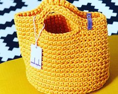 Crochet Tote Bag Knitted Handbag SUNFLOWER color Modern Scandinavian Style