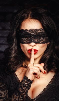 Mysterious girl in a mask put her index finger to her lips silent. Aesthetic People, Red Aesthetic, Jolie Lingerie, Women Lingerie, Girl Face, Woman Face, Lace Blindfold, Mysterious Girl, Lace Mask
