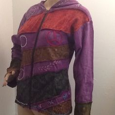 Embroidered & patchwork boho style jacket. NWT This Jacket is 100% cotton. Featuring bohemian style quilted details and embroidery. Detailed and raised stitching and patchwork. each jacket might be slightly different in color. heavy duty zippered front. two sideocket and extremly well made. Boutique Jackets & Coats