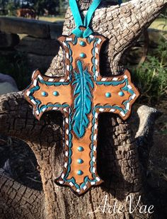 Tooled leather cross by Tamra at ArteVae