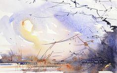 Winter Sun Cheshire expressive watercolour landscape by Adrian Homersham SOLD