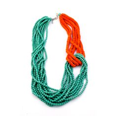 Wood-beaded, multi-strand necklace with complementary turquoise and orange hues by Sylca Designs