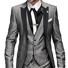 Morning Style Grey One Button Groom Tuxedos Best Man Peak Lapel Groomsmen Men Wedding Suits Bridegroom (Jacket+Pants+Tie+Vest)