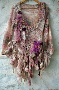 Ganchillo y punto a bohemio romántico arte suéter por irinacarmen