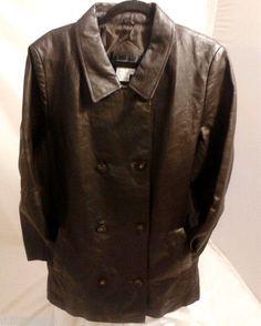 VIA ACCENTI  Womens Brown Leather Jacket, Medium Size #BasicJacket